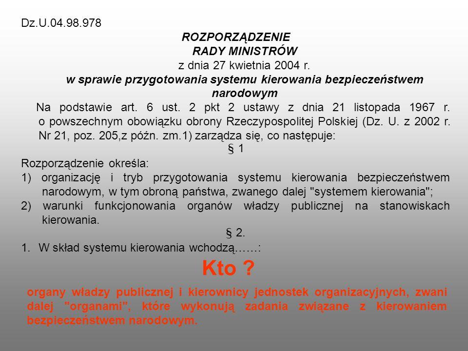 Dz.U.04.98.978 ROZPORZĄDZENIE RADY MINISTRÓW z dnia 27 kwietnia 2004 r. w sprawie przygotowania systemu kierowania bezpieczeństwem narodowym Na podsta