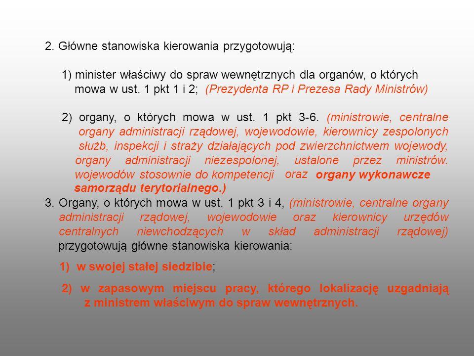 2. Główne stanowiska kierowania przygotowują: 1) minister właściwy do spraw wewnętrznych dla organów, o których mowa w ust. 1 pkt 1 i 2; (Prezydenta R