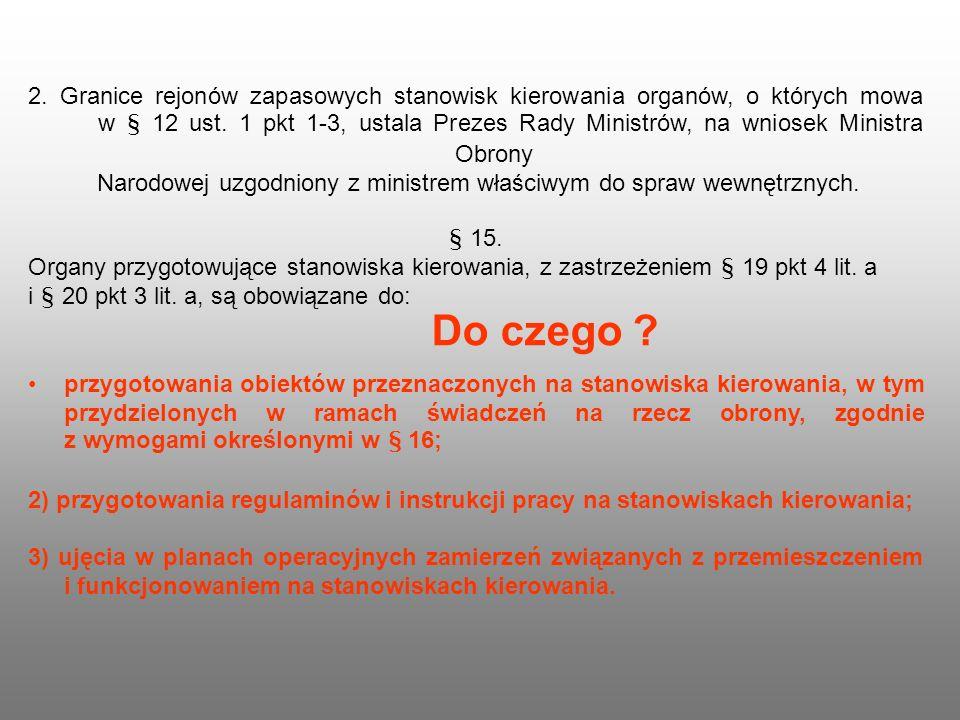 2. Granice rejonów zapasowych stanowisk kierowania organów, o których mowa w § 12 ust. 1 pkt 1-3, ustala Prezes Rady Ministrów, na wniosek Ministra Ob