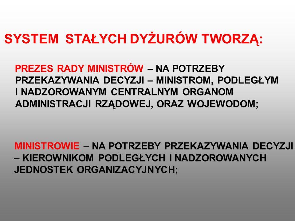 g) zapewnia utrzymanie obiektów specjalnych przeznaczonych dla Prezydenta Rzeczypospolitej Polskiej, Prezesa Rady Ministrów, ministrów oraz centralnych organów administracji rządowej w gotowości do wykorzystania, a także ich obsługę techniczną w razie wewnętrznego lub zewnętrznego zagrożenia bezpieczeństwa narodowego i w czasie wojny, h) zapewnia ochronę oraz bezpieczeństwo, porządek publiczny i ochronę przeciwpożarową, i)zapewnia funkcjonowanie systemu ostrzegania i alarmowania oraz prowadzenie akcji ratunkowo-ewakuacyjnych.