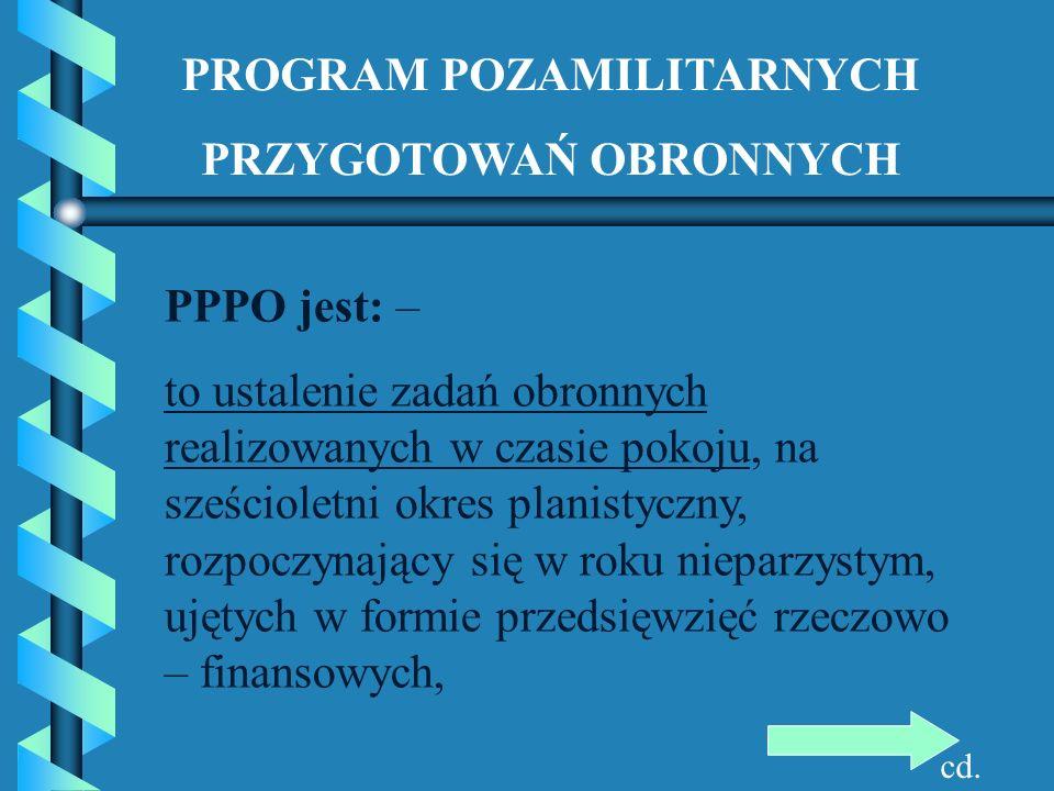 PROGRAM POZAMILITARNYCH PRZYGOTOWAŃ OBRONNYCH PPPO jest: – to ustalenie zadań obronnych realizowanych w czasie pokoju, na sześcioletni okres planistyc
