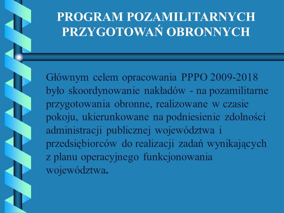 Głównym celem opracowania PPPO 2009-2018 było skoordynowanie nakładów - na pozamilitarne przygotowania obronne, realizowane w czasie pokoju, ukierunko