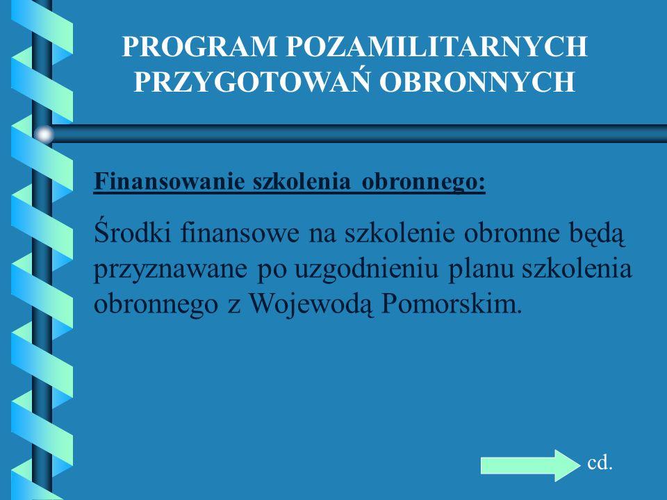 PROGRAM POZAMILITARNYCH PRZYGOTOWAŃ OBRONNYCH Finansowanie szkolenia obronnego: Środki finansowe na szkolenie obronne będą przyznawane po uzgodnieniu