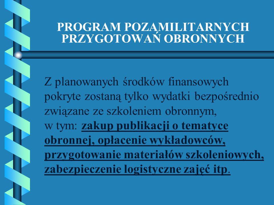 PROGRAM POZAMILITARNYCH PRZYGOTOWAŃ OBRONNYCH Z planowanych środków finansowych pokryte zostaną tylko wydatki bezpośrednio związane ze szkoleniem obro
