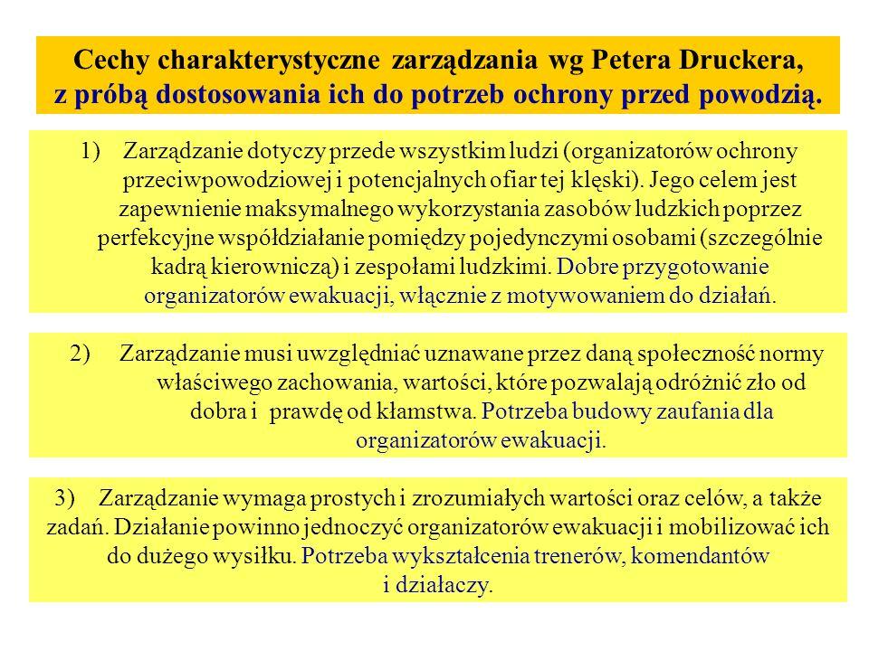 Cechy charakterystyczne zarządzania wg Petera Druckera, z próbą dostosowania ich do potrzeb ochrony przed powodzią. 1)Zarządzanie dotyczy przede wszys