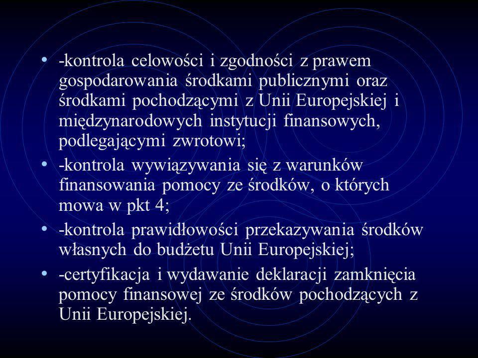-kontrola celowości i zgodności z prawem gospodarowania środkami publicznymi oraz środkami pochodzącymi z Unii Europejskiej i międzynarodowych instytu