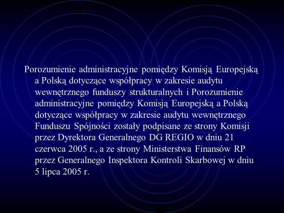 Porozumienie administracyjne pomiędzy Komisją Europejską a Polską dotyczące współpracy w zakresie audytu wewnętrznego funduszy strukturalnych i Porozu