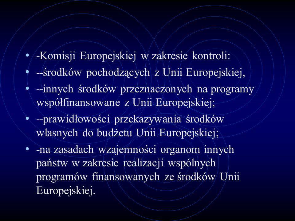 -Komisji Europejskiej w zakresie kontroli: --środków pochodzących z Unii Europejskiej, --innych środków przeznaczonych na programy współfinansowane z