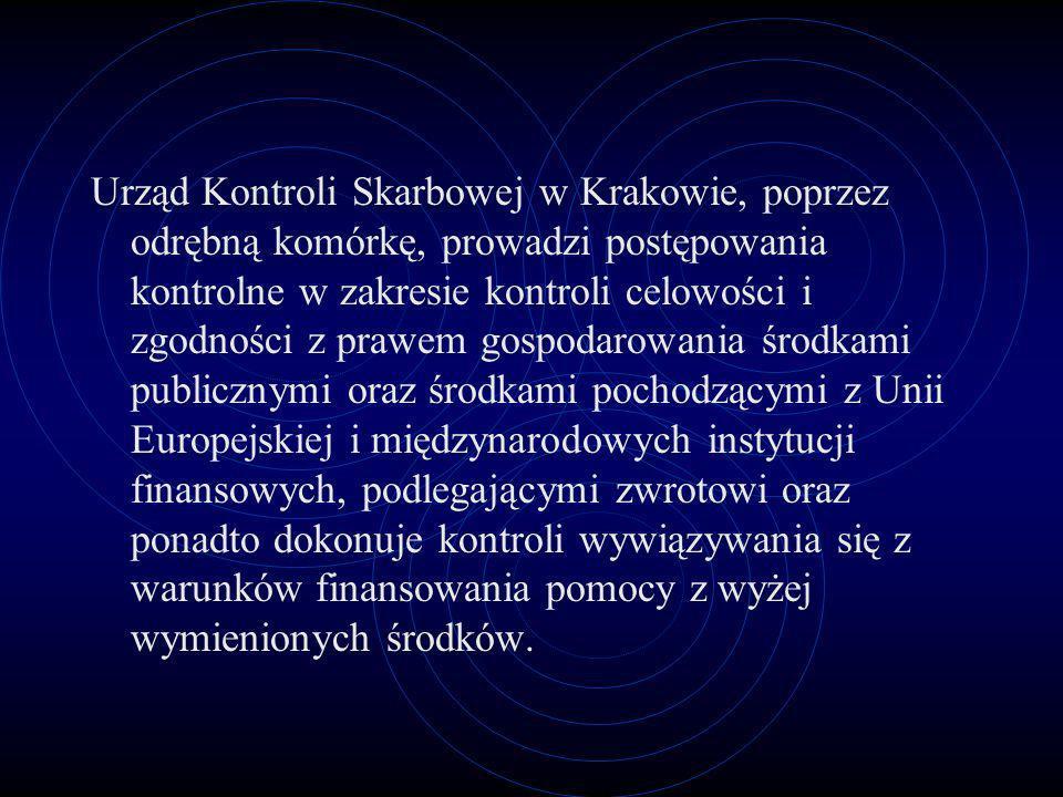 Urząd Kontroli Skarbowej w Krakowie, poprzez odrębną komórkę, prowadzi postępowania kontrolne w zakresie kontroli celowości i zgodności z prawem gospo