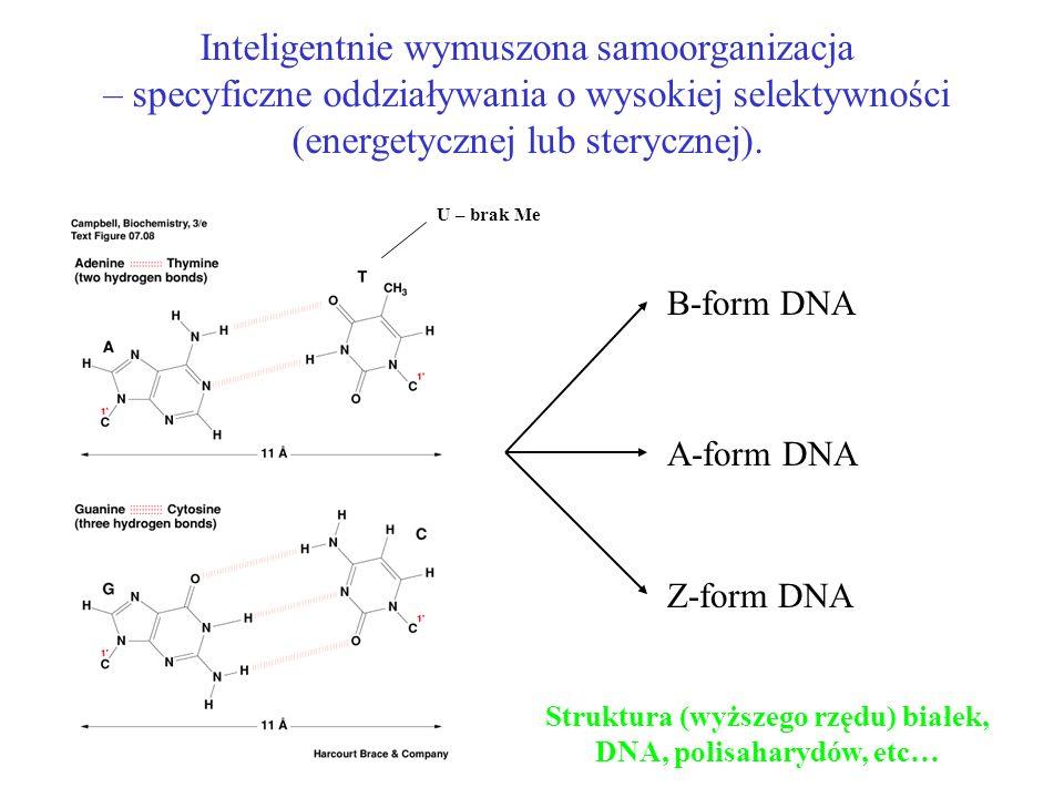 Inteligentnie wymuszona samoorganizacja – specyficzne oddziaływania o wysokiej selektywności (energetycznej lub sterycznej). Struktura (wyższego rzędu