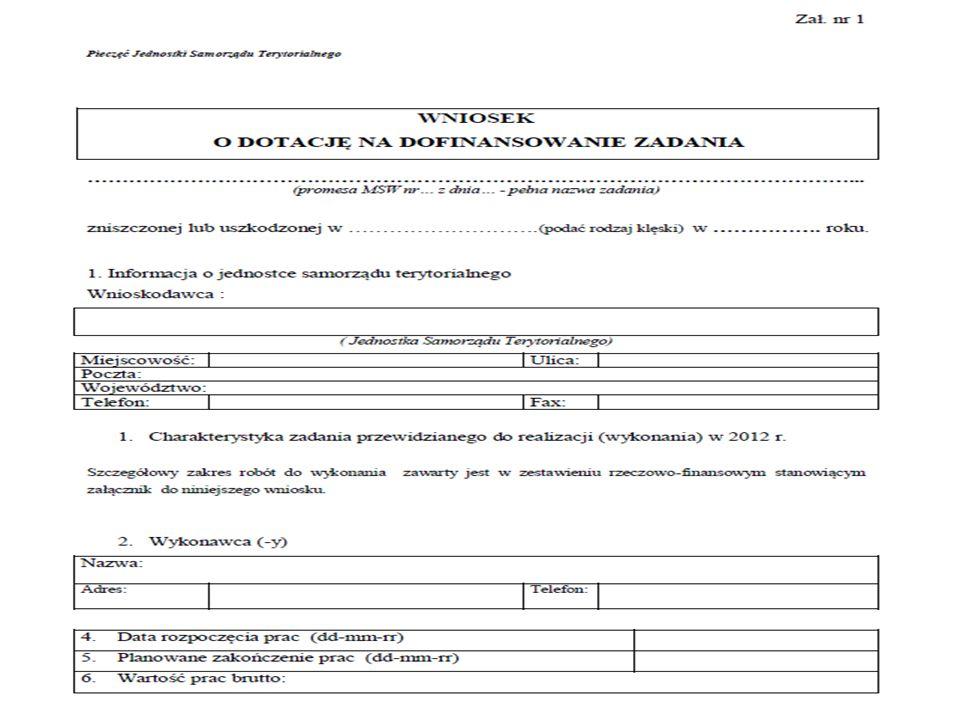 I. Wniosek o dotację - zał. Nr 1 do Umowy o dotację