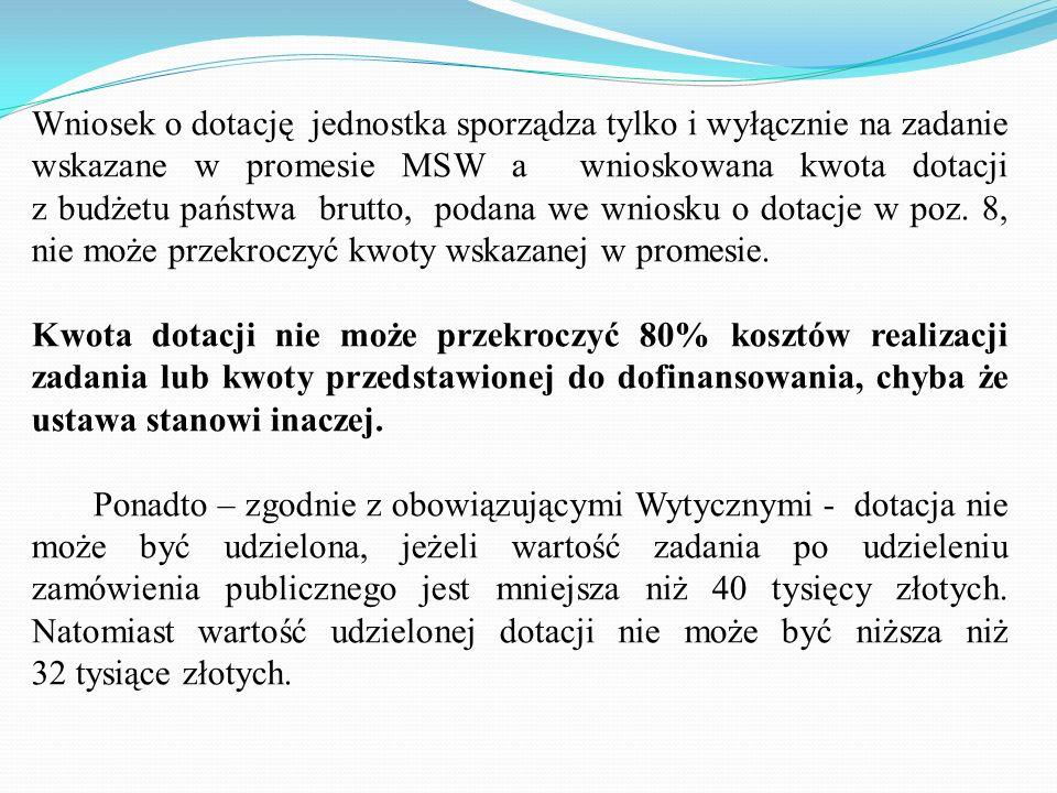 Wniosek o dotację oraz wszystkie dokumenty do wniosku, tj.: zestawienia rzeczowo- finansowe, kopia ogłoszenia o wyniku postępowania o zamówienie publi