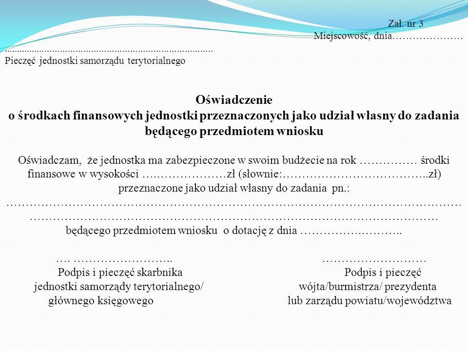 IV. Oświadczenie o zabezpieczeniu środków własnych - załącznik nr 3