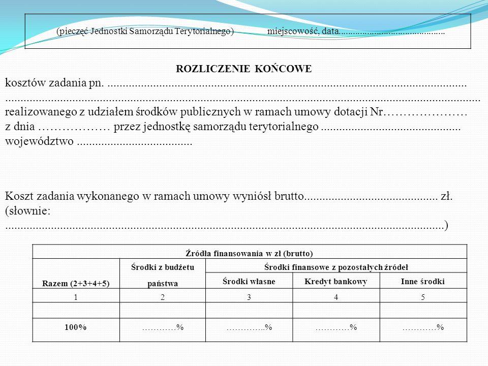 Zgodnie z § 7 umowy dotacji jednostka samorządu terytorialnego zobowiązana jest do sporządzenia i przesłania do Wojewody, w terminie określonym w umow