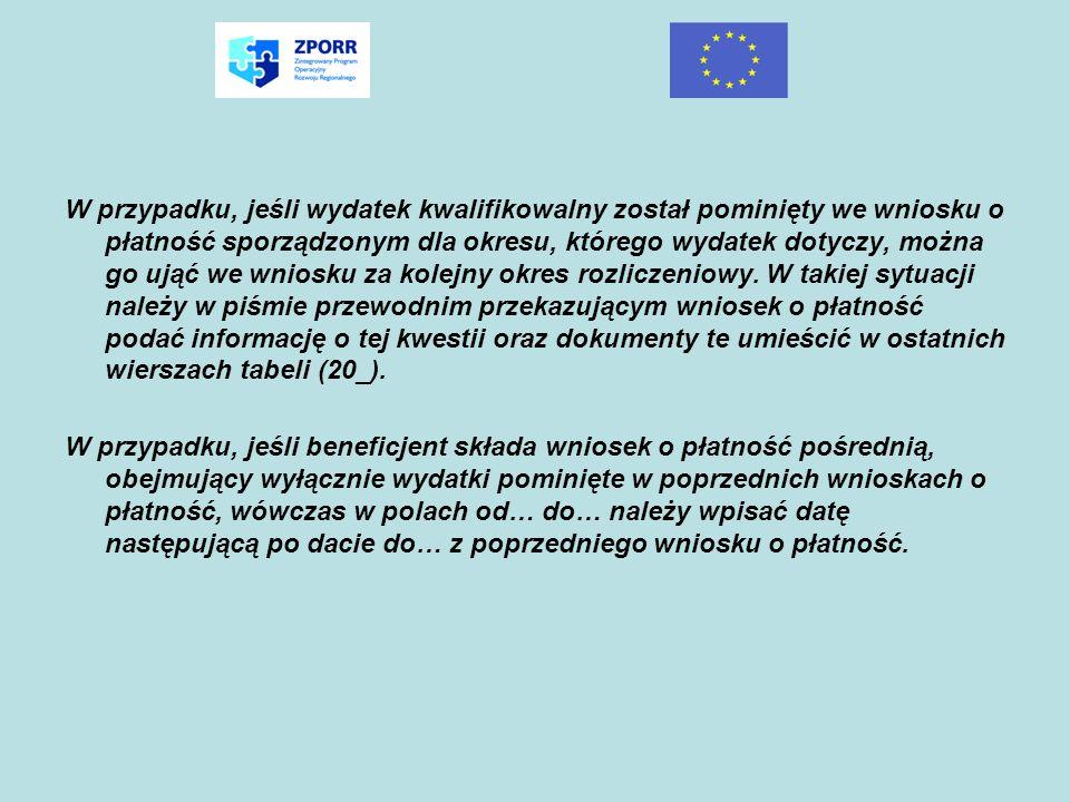Lp.Rodzaj przychoduKwota 12 suma ogółem w PLN : (22_) UZYSKANY PRZYCHÓD w okresie objętym wnioskiem (jeżeli zostało przewidziane w umowie/decyzji* o dofinansowaniu) Kwoty należy wpisywać z opcją wyrównaj do prawej.