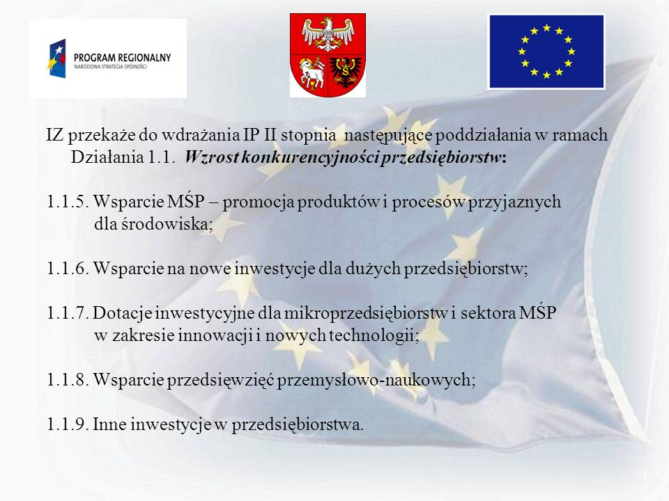 IZ przekaże do wdrażania IP II stopnia następujące poddziałania w ramach Działania 1.1. Wzrost konkurencyjności przedsiębiorstw: 1.1.5. Wsparcie MŚP –