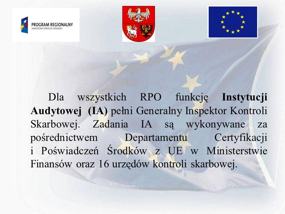 Dla wszystkich RPO funkcję Instytucji Audytowej (IA) pełni Generalny Inspektor Kontroli Skarbowej. Zadania IA są wykonywane za pośrednictwem Departame