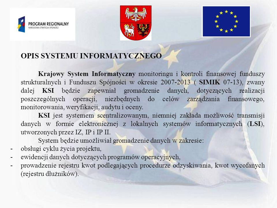 OPIS SYSTEMU INFORMATYCZNEGO Krajowy System Informatyczny monitoringu i kontroli finansowej funduszy strukturalnych i Funduszu Spójności w okresie 200