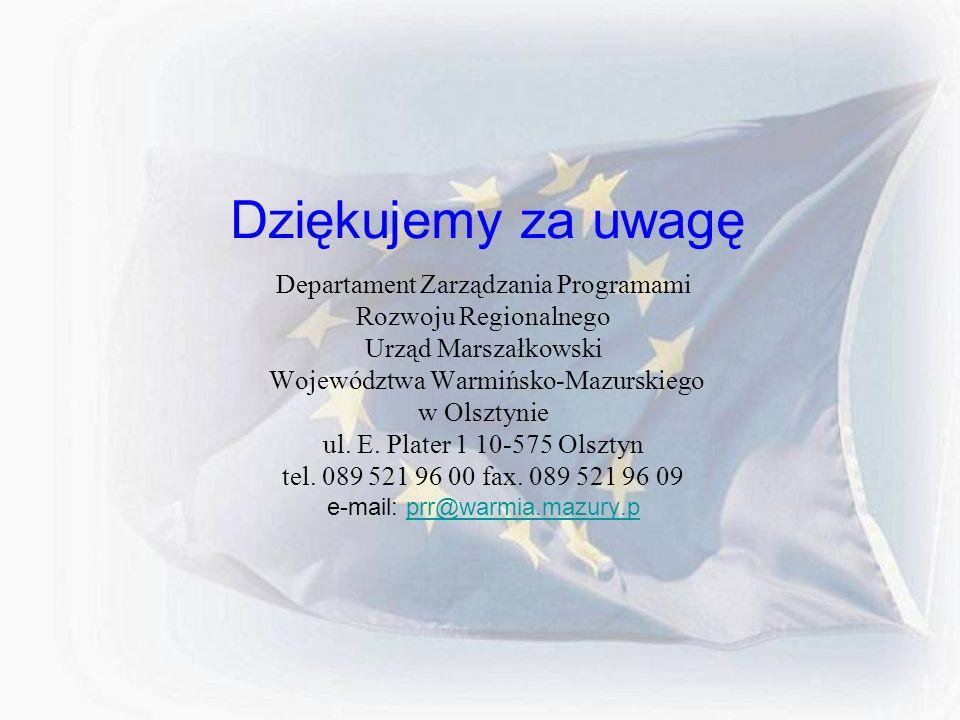Dziękujemy za uwagę Departament Zarządzania Programami Rozwoju Regionalnego Urząd Marszałkowski Województwa Warmińsko-Mazurskiego w Olsztynie ul. E. P