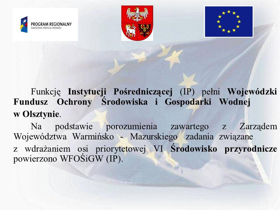 Funkcję Instytucji Pośredniczącej (IP) pełni Wojewódzki Fundusz Ochrony Środowiska i Gospodarki Wodnej w Olsztynie. Na podstawie porozumienia zawarteg