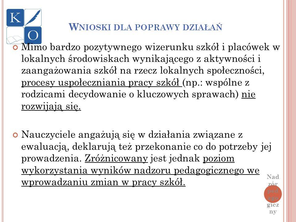 W NIOSKI DLA POPRAWY DZIAŁAŃ Mimo bardzo pozytywnego wizerunku szkół i placówek w lokalnych środowiskach wynikającego z aktywności i zaangażowania szk