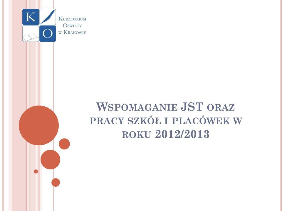 W SPOMAGANIE JST ORAZ PRACY SZKÓŁ I PLACÓWEK W ROKU 2012/2013