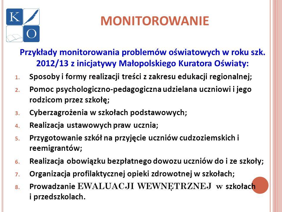 MONITOROWANIE Przykłady monitorowania problemów oświatowych w roku szk. 2012/13 z inicjatywy Małopolskiego Kuratora Oświaty: 1. Sposoby i formy realiz