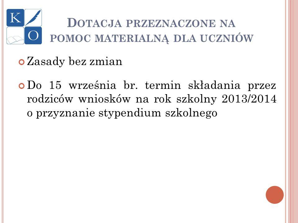 D OTACJA PRZEZNACZONE NA POMOC MATERIALNĄ DLA UCZNIÓW Zasady bez zmian Do 15 września br. termin składania przez rodziców wniosków na rok szkolny 2013