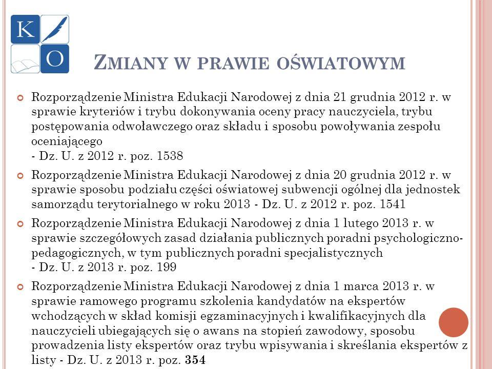 Rozporządzenie Ministra Edukacji Narodowej z dnia 21 grudnia 2012 r. w sprawie kryteriów i trybu dokonywania oceny pracy nauczyciela, trybu postępowan