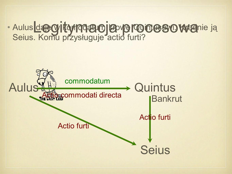 Legitymacja procesowa Aulus daje w komodatum krowę Quintusowi.