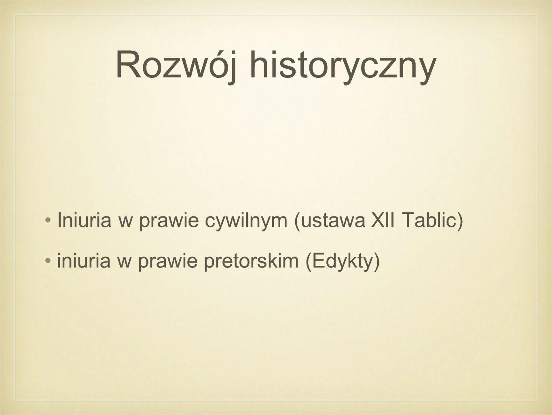 Rozwój historyczny Iniuria w prawie cywilnym (ustawa XII Tablic) iniuria w prawie pretorskim (Edykty)
