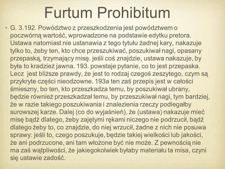 Furtum Prohibitum G. 3.192.
