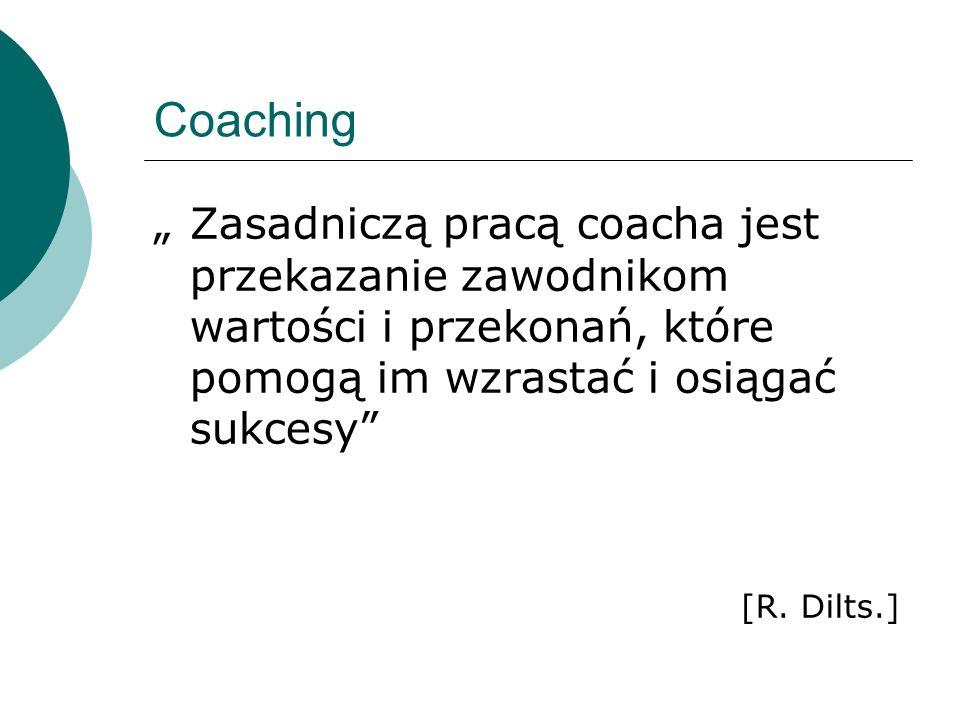 Coaching Zasadniczą pracą coacha jest przekazanie zawodnikom wartości i przekonań, które pomogą im wzrastać i osiągać sukcesy [R. Dilts.]