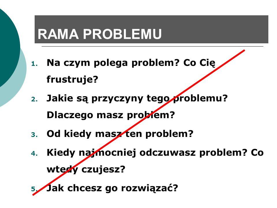 RAMA PROBLEMU 1. Na czym polega problem? Co Cię frustruje? 2. Jakie są przyczyny tego problemu? Dlaczego masz problem? 3. Od kiedy masz ten problem? 4