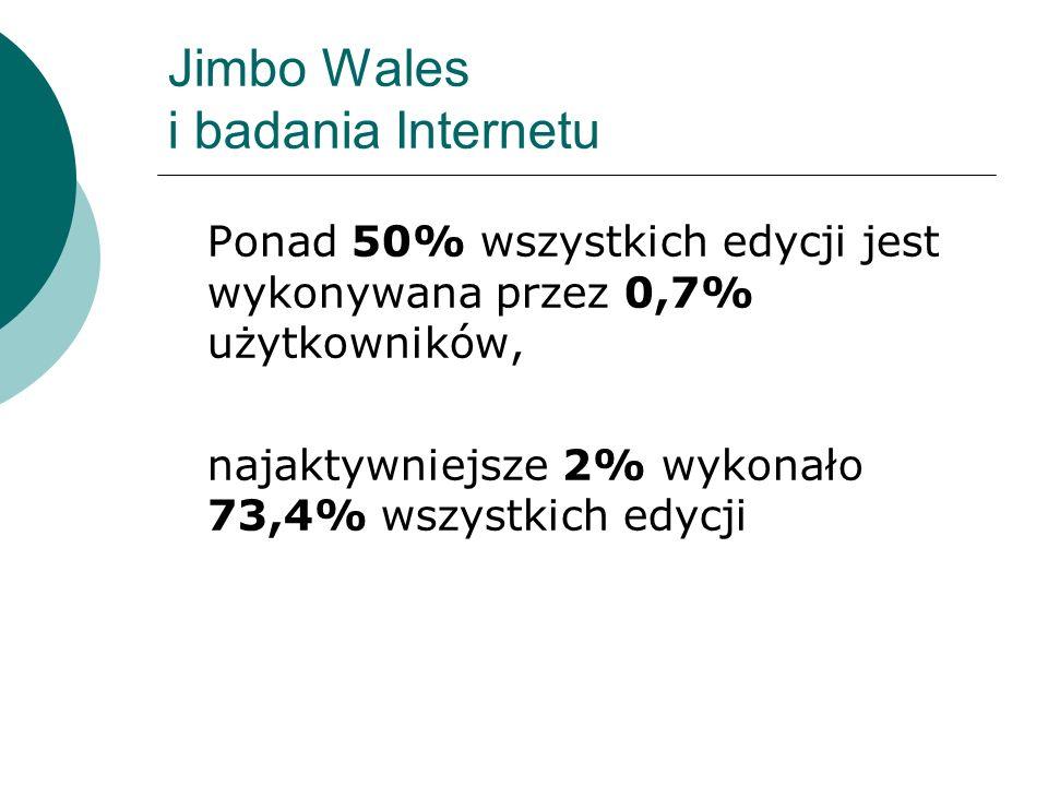Jimbo Wales i badania Internetu Ponad 50% wszystkich edycji jest wykonywana przez 0,7% użytkowników, najaktywniejsze 2% wykonało 73,4% wszystkich edyc