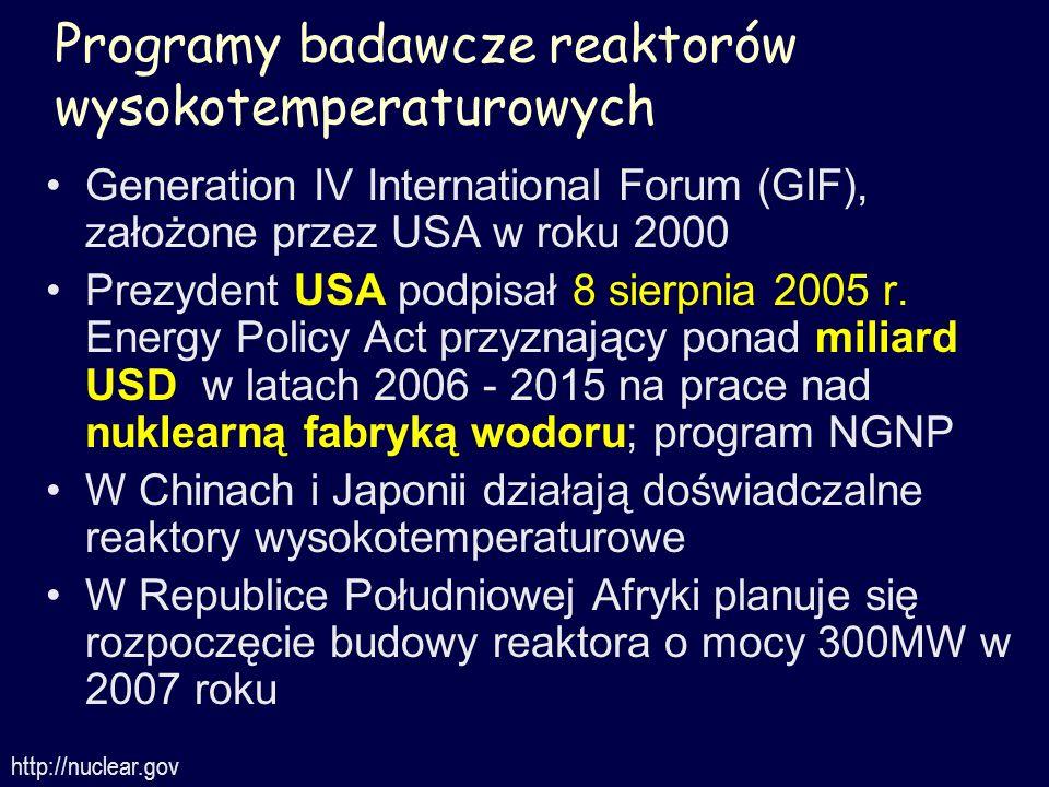 Programy badawcze reaktorów wysokotemperaturowych Generation IV International Forum (GIF), założone przez USA w roku 2000 Prezydent USA podpisał 8 sie