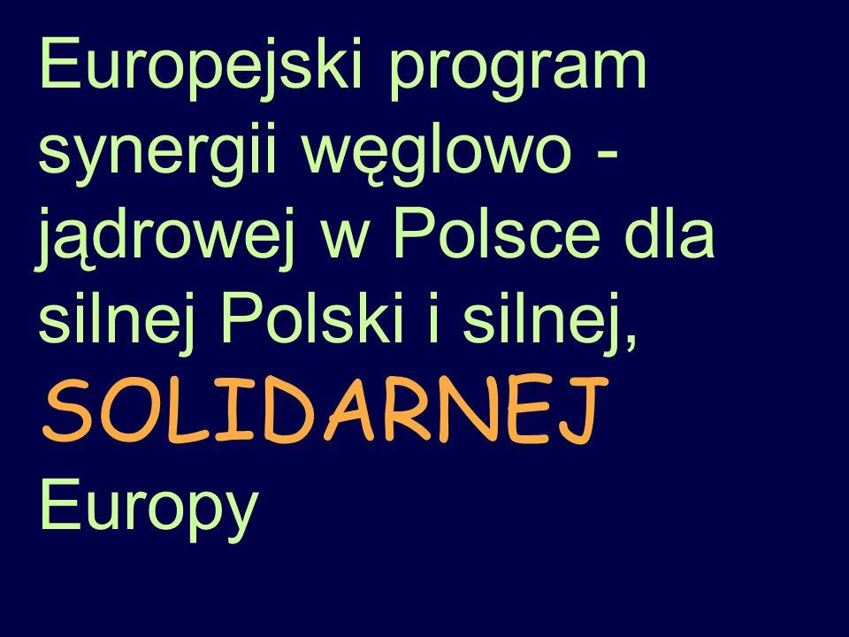 Europejski program synergii węglowo - jądrowej w Polsce dla silnej Polski i silnej, SOLIDARNEJ Europy