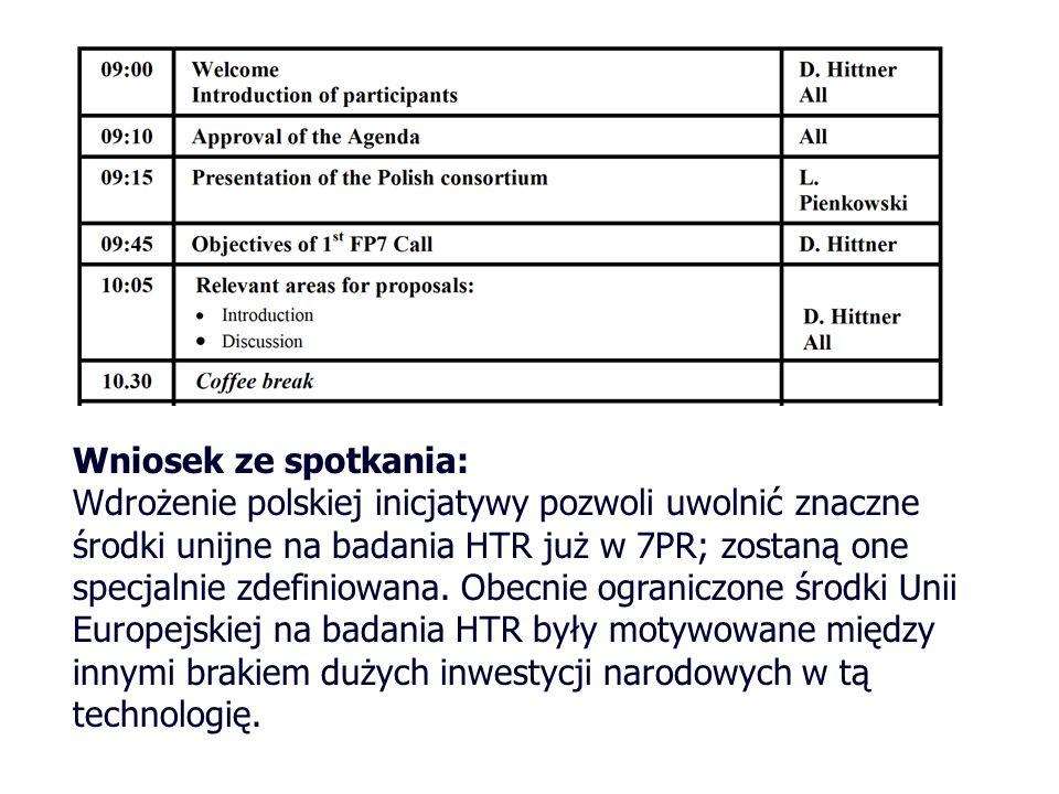 Wniosek ze spotkania: Wdrożenie polskiej inicjatywy pozwoli uwolnić znaczne środki unijne na badania HTR już w 7PR; zostaną one specjalnie zdefiniowan