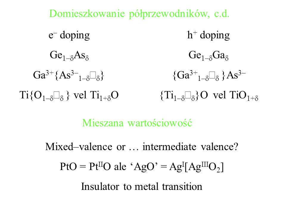 Domieszkowanie półprzewodników, c.d. e – doping Ge 1– As Ga 3+ {As 3– 1– } Ti{O 1– } vel Ti 1+ O h + doping Ge 1– Ga {Ga 3+ 1– }As 3– {Ti 1– }O vel Ti