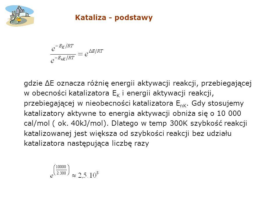 gdzie E oznacza różnię energii aktywacji reakcji, przebiegającej w obecności katalizatora E K i energii aktywacji reakcji, przebiegającej w nieobecnoś
