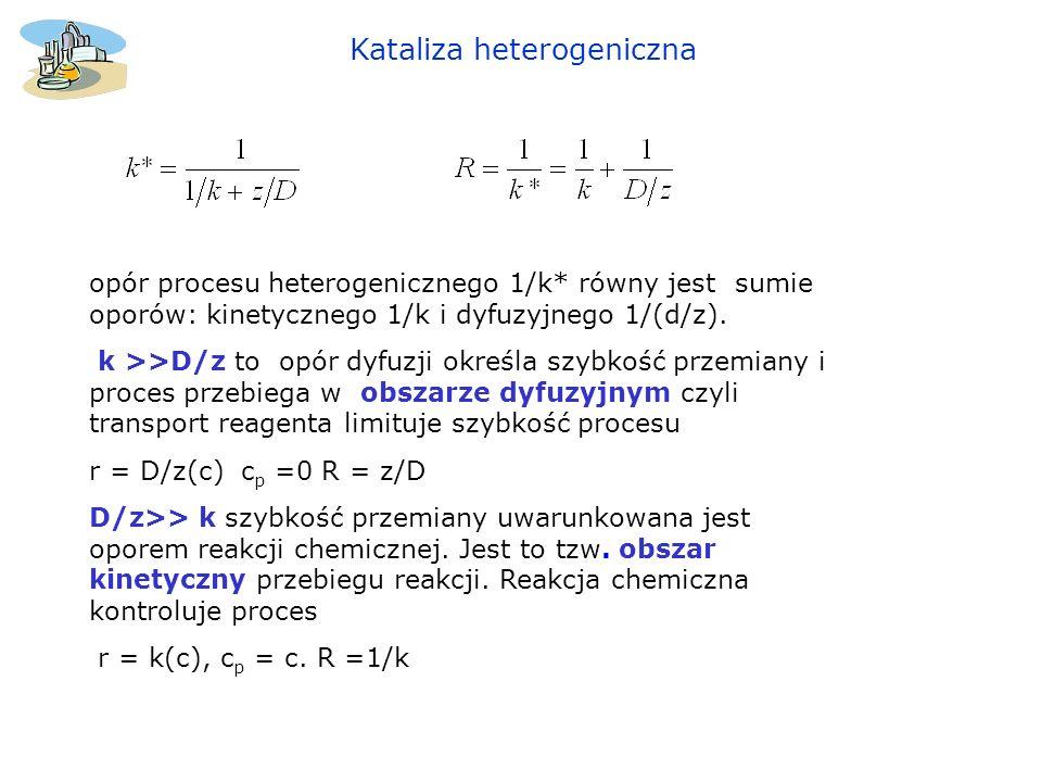 Kataliza heterogeniczna opór procesu heterogenicznego 1/k* równy jest sumie oporów: kinetycznego 1/k i dyfuzyjnego 1/(d/z). k >>D/z to opór dyfuzji ok