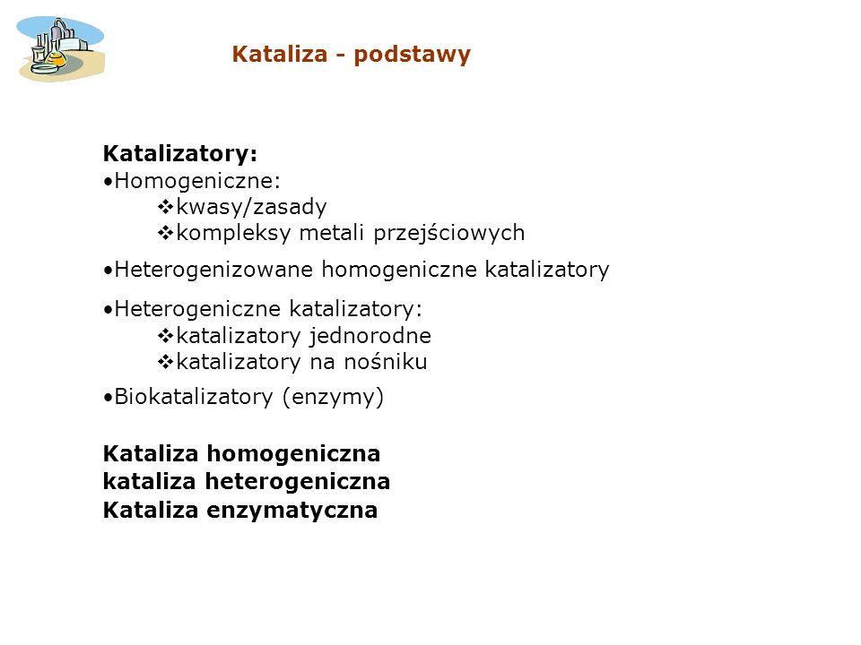 Katalizatory: Homogeniczne: kwasy/zasady kompleksy metali przejściowych Heterogenizowane homogeniczne katalizatory Heterogeniczne katalizatory: katali