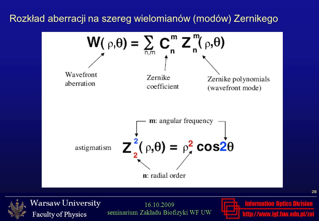 http://www.igf.fuw.edu.pl/zoi Warsaw University Faculty of Physics Information Optics Division 28 16.10.2009 seminarium Zakładu Biofizyki WF UW Rozkła
