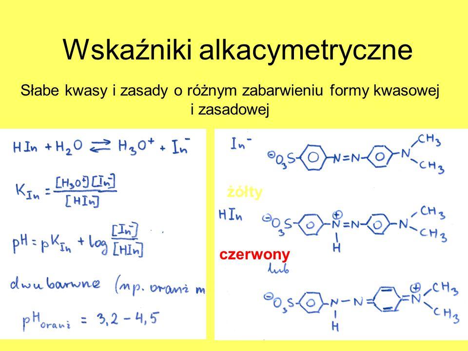 Wskaźniki alkacymetryczne Słabe kwasy i zasady o różnym zabarwieniu formy kwasowej i zasadowej żółty czerwony żółty