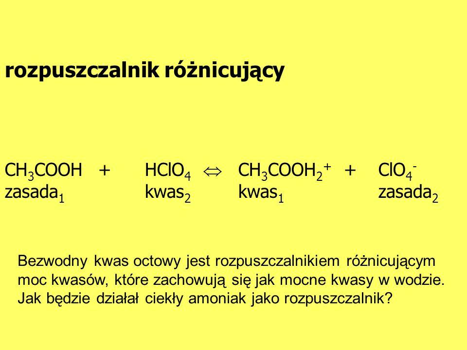 CH 3 COOH+HClO 4 CH 3 COOH 2 + +ClO 4 - zasada 1 kwas 2 kwas 1 zasada 2 rozpuszczalnik różnicujący Bezwodny kwas octowy jest rozpuszczalnikiem różnicu