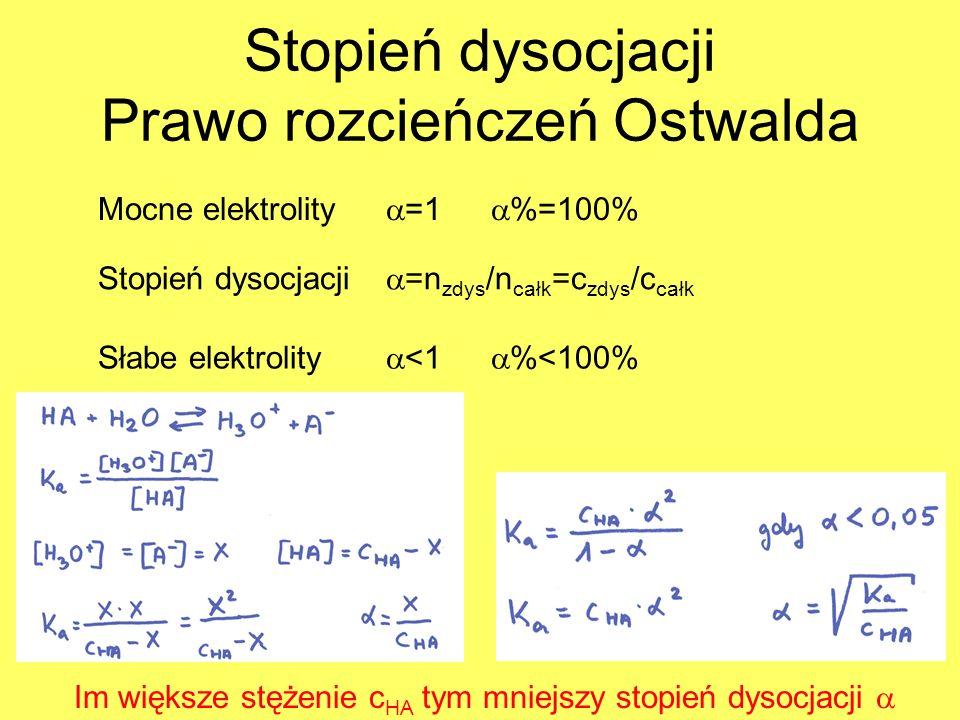 Stopień dysocjacji Prawo rozcieńczeń Ostwalda Mocne elektrolity =1 %=100% Stopień dysocjacji =n zdys /n całk =c zdys /c całk Słabe elektrolity <1 %<10
