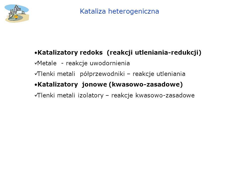 Katalizatory redoks (reakcji utleniania-redukcji) Metale - reakcje uwodornienia Tlenki metali półprzewodniki – reakcje utleniania Katalizatory jonowe