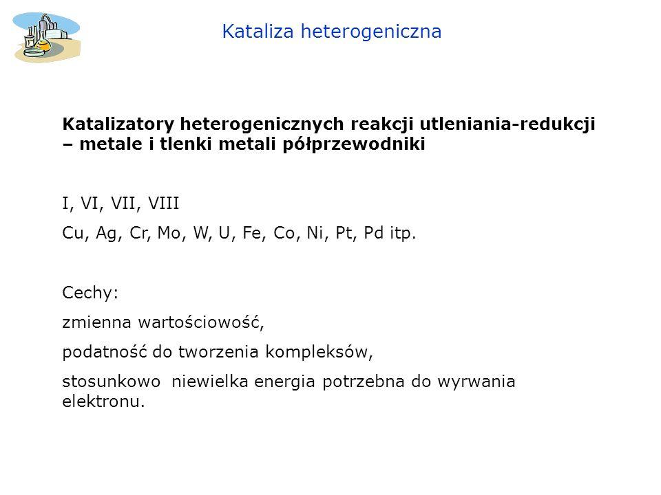 Kataliza heterogeniczna Katalizatory heterogenicznych reakcji utleniania-redukcji – metale i tlenki metali półprzewodniki I, VI, VII, VIII Cu, Ag, Cr,