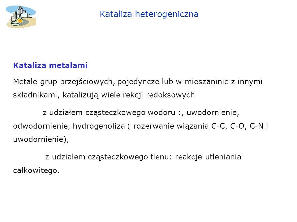 Kataliza heterogeniczna Kataliza metalami Metale grup przejściowych, pojedyncze lub w mieszaninie z innymi składnikami, katalizują wiele rekcji redoks