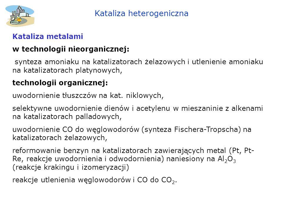 Kataliza heterogeniczna Kataliza metalami w technologii nieorganicznej: synteza amoniaku na katalizatorach żelazowych i utlenienie amoniaku na kataliz